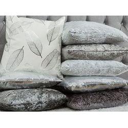 Poduszka dekoracyjna liście biała/srebrna 45 x 45 cm