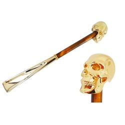 Łyżka do obuwia Pasotti Gold Skull, Pearly Brown Shaft, cs W33PO