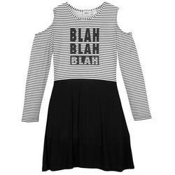 Sukienka dziewczęca off-shoulder bonprix czarno-biały