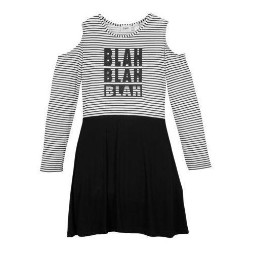 Spódniczki, Sukienka dziewczęca off-shoulder bonprix czarno-biały