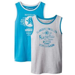 Koszulka bez rękawów (2 szt.) bonprix turkusowy + naturalny melanż