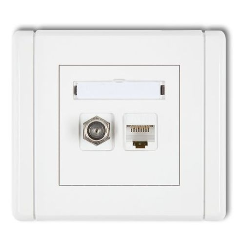 Gniazdka, KARLIK FLEXI FGFK Gniazdo antenowe poj. typu F (SAT) + gniazdo komp. poj. 1xRJ45, kat. 5e, 8-stykowe biały