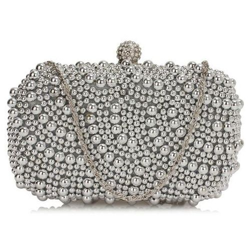Torebki, Torebka wizytowa ze srebrnych koralików - srebrny