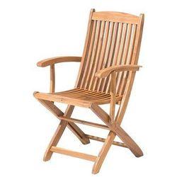 Krzesło ogrodowe jasnobrązowe drewno akacjowe z podłokietnikami MAUI