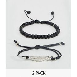 ASOS Bracelet Pack In Black With Beads And Feather - Black