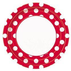 Talerzyki urodzinowe biało-czerwone w białe kropki - 23 cm - 8 szt.