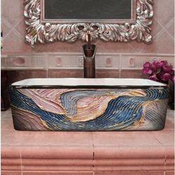 PASTEL WAVES - nablatowa umywalka artystyczna ręcznie wykończona rabat 20%