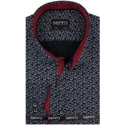 Koszula Męska Sefiro czarna w kwiatki SLIM FIT na spinki lub guzik A093
