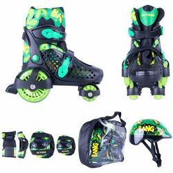 Zestaw dziecięcy: regulowane wrotki, kask, ochraniacze, torba Action Darly Boy - Kolor Zielono-czarny, Rozmiar S 30-33