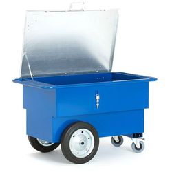 Wózek narzędziowy skrzynia o poj 160 l, 2 koła stałe i 2 samonastawne