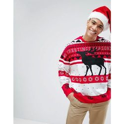 ASOS Christmas Sweatshirt With Fair Isle & Reindeer Print - Red