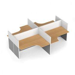 Zestaw parawanów biurowych ze stołem ergonomicznym, magnetyczny, 4 miejsca, buk