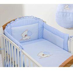 MAMO-TATO Ochraniacz do łóżeczka 70x140 Miś z serduszkiem w błękicie