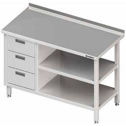Stół przyścienny z blokiem trzech szuflad po lewej stronie i dwiema półkami 1900x700x850 mm | STALGAST, 980407190
