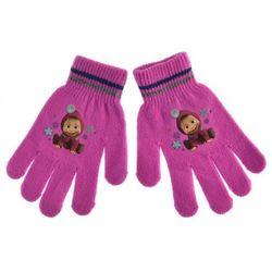 Rękawiczki dziecięce Masza i Niedźwiedź - Fuksja
