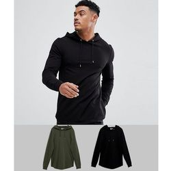 ASOS Longline Muscle Hoodie 2 Pack With Curved Hem In Black/Khaki SAVE - Multi
