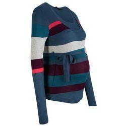 Sweter ciążowy i do karmienia, w paski bonprix ciemnoniebieski w paski