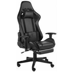 Czarny obrotowy fotel do gier z podnóżkiem - Epic Gamer