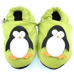 Skórzane kapcie dziecięce Afelo Penguin - Zielony Obniżka ceny na 29,90zł (-41%)