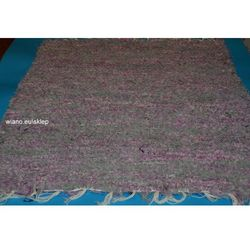 Chodnik bawełniany (wycieraczka) ręcznie tkany fioletowo-szary żółty 65x50