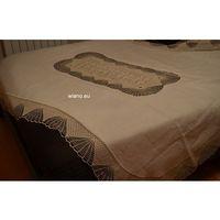 Obrusy, Obrus lniany w kolorze beżowym na stół owalny 198/134 + 12 serwetek