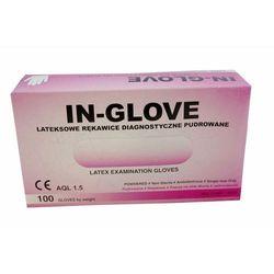 Rękawice lateksowe, pudrowane, gładkie, białe, niejałowe IN GLOVE rozmiar S opakowanie 100 szt.
