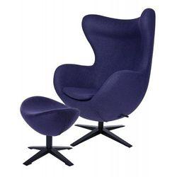 Fotel EGG SZEROKI BLACK z podnóżkiem fioletowy.25 - wełna, podstawa czarna