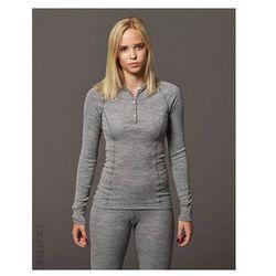 Koszulka damska z wełny merynosów (100%) - długi rękaw, dopasowana, z guzikami - szary malanż - DILLING