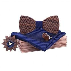 Drewniany komplet T08: muszka, spinki, poszetka i broszka