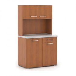 Kuchnia biurowa PRIMO bez wyposażenia, szary/czereśnia