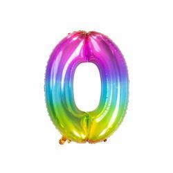 Balon foliowy cyfra 0 tęczowy - 86 cm - 1 szt.