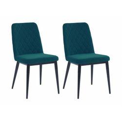 Zestaw 2 krzeseł PILA – pikowane – tkanina i metal – kolor niebieski