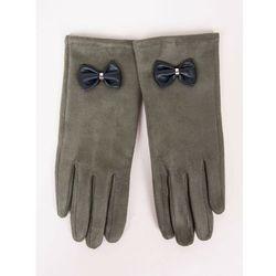 Rękawiczki dziewczęce zamszowe oliwkowe skórzana kokardka 21