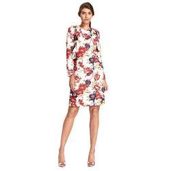 Sukienka z pionową falbaną - kwiaty - S110