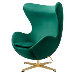 Fotel w kształcie jajka EGG CLASSIC VELVET GOLD zielony - welur, podstawa złota