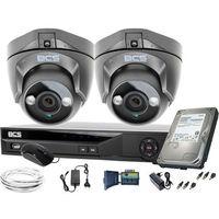Zestawy monitoringowe, ZM11947 BCS zestaw monitoringu kamery 2szt. BCS-DMQE1500IR3-G BCS-XVR04014KE-II 1TB