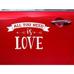 Naklejka ślubna na samochód - All you need is love