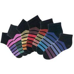 Skarpetki damskie stopki H.I.S (7 par) bonprix czarny w kolorowe paski