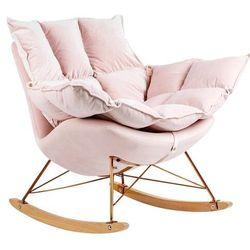 Fotel bujany SWING VELVET jasny róż - welur, podstawa miedziana, drewno bukowe