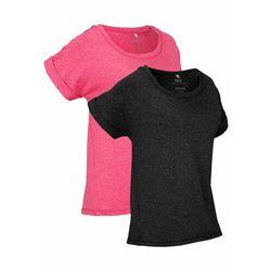 Shirt sportowy (2 szt.), krótki rękaw bonprix czarny + różowy hibiskus melanż