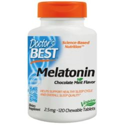 Doctor's Best Melatonina, 2.5mg - Czekolada- Mięta - 120 tabletek do ssania