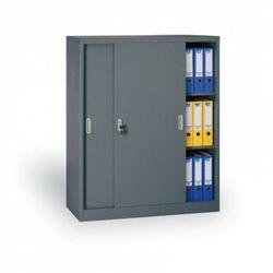 Metalowa szafa z przesuwnymi drzwiami, 1200 x 1200 x 450 mm, ciemnoszary