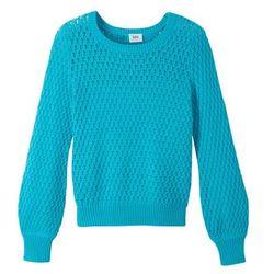 Lekki sweter dzianinowy w strukturalny wzór bonprix turkusowy