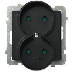 Gniazdo podwójne Ospel Sonata GP-2RRP/m/33 z przesłonami torów prądowych czarny metalik