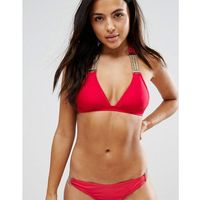 Stroje kąpielowe, Wolf & Whistle Chain Detail Push Up Triangle Bikini Top A-F Cup - Red