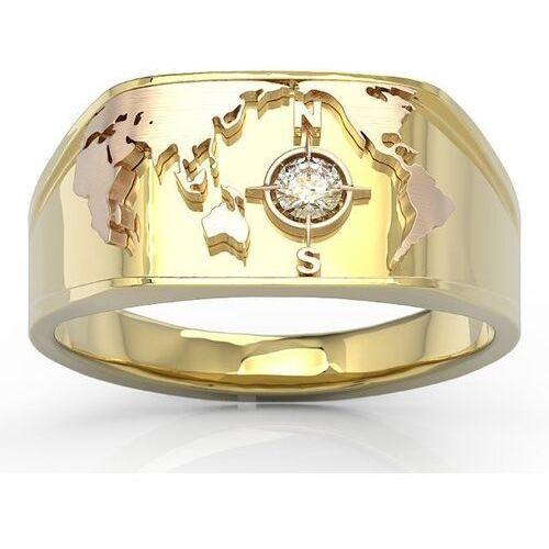 Sygnety, Sygnet morski z żółtego i różowego złota z brylantem sj-1410zp