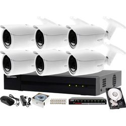 Profesjonalny monitoring sklepu, magazynu, parkingu Hikvision Hiwatch Rejestrator IP HWN-4108MH + 6x Kamera FullHD HWI-B640H-Z + Akcesoria