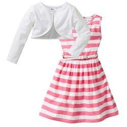 Sukienka + pasek + bolerko (3 części) bonprix jaskrawy jasnoróżowy - biały w paski