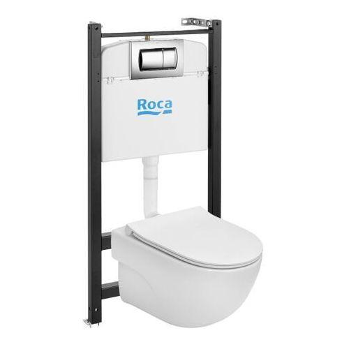 Stelaże i zestawy podtynkowe, Zestaw podtynkowy WC Roca Active Teras z miską bezkołnierzową i deską wolnoopadającą