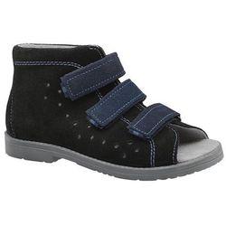 Sandały Profilaktyczne Ortopedyczne Buty DAWID 1043 Czarne CZN - Czarny ||Granatowy